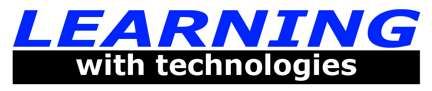 Learning with technologies logo in blue lettering and white with dark background