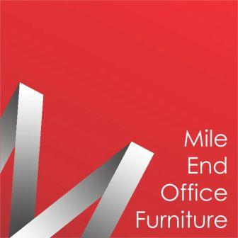 Mile End office furniture logo in white letters red background with a large letter M sideways on the left bottom corner