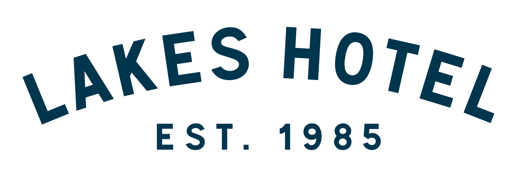 Lakes Hotel logo in blue block letters